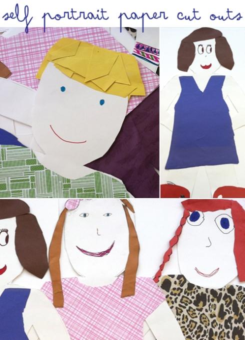 self portrait paper cut outs second grade