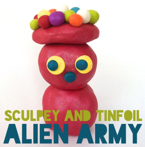 sculpey and tinfoil alien army figure