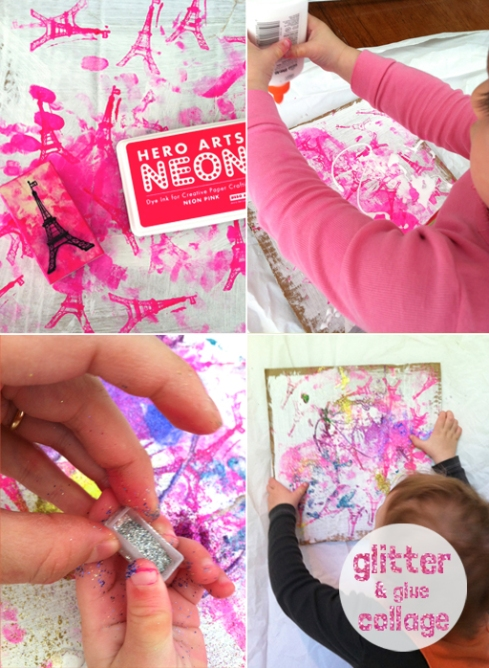 stamp, glitter and glue collage for toddlers and kids