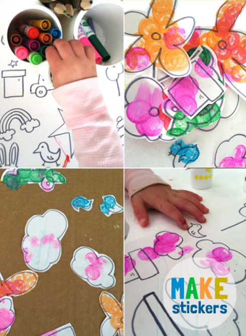 making stickers with toddlers