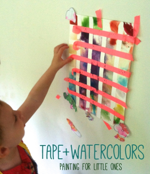 washi tape and watercolors - painting with toddlers