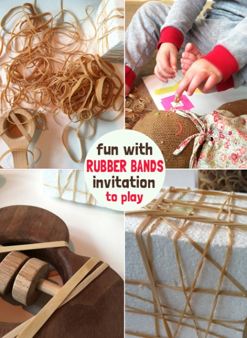 Rubber bands - Invitation to Play for Toddlers