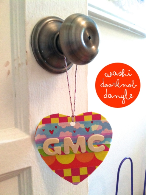 washi tape heart door knob dangle