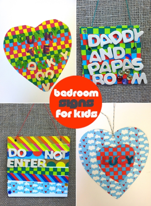 DIY Door Signs for Kids - washi tape, cardboard and wood letters