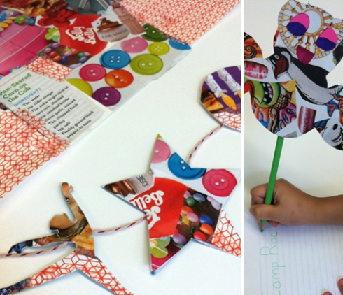 collage pencil toppers and garlands