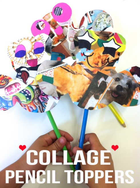 collage pencil toppers