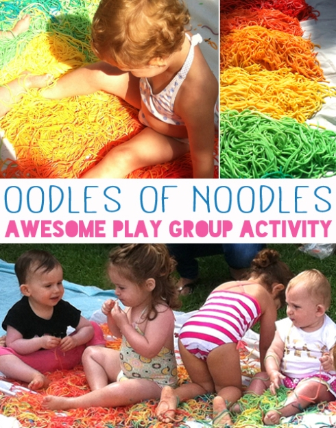 Oodles of Noodles - Awesome play group activity - Rainbow Spaghetti Heaven
