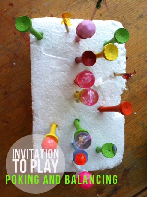 invitation to play for toddlers - poking and balancing