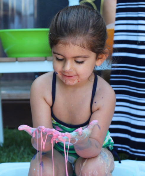 rainbow ooblek play group activity for toddlers and babies