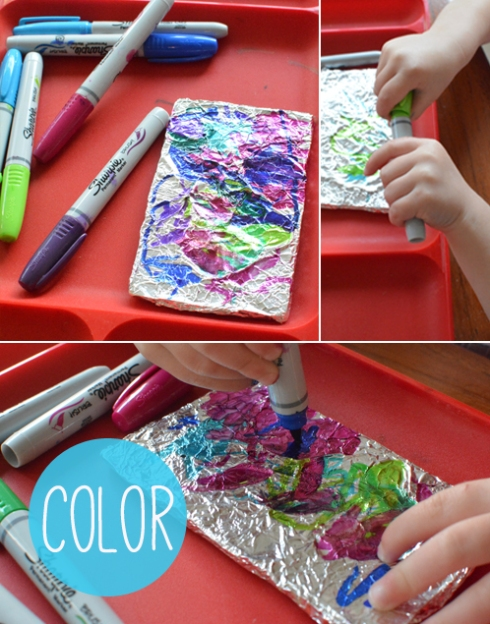 Invitation to Play for Toddlers - Color on Tin Foil