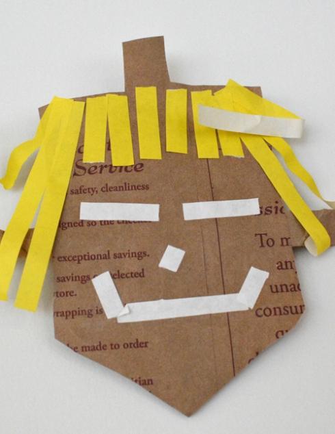 Hanukkah Dreidel Garland from Recycled Shopping Bags