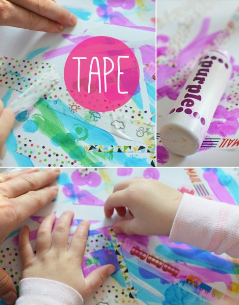 Invitation to play for toddlers - Tape Resist with Paint Dots