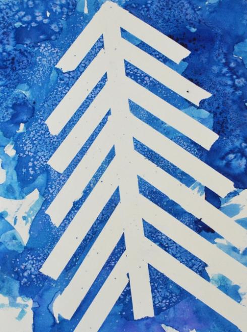 Watercolor Salt Painting Christmas Trees