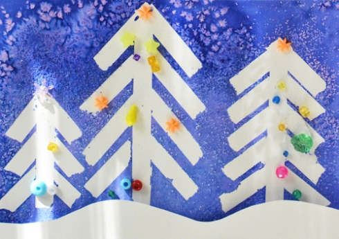 Winter Wonderland Christmas Art - Tape Resist and Salt Painting