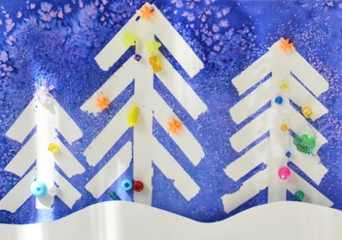 Winter Wonderland Christmas Art - Tape Resist and Salt Painting