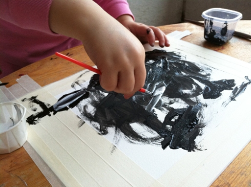 Process Art Activity for toddlers - Black and White painting