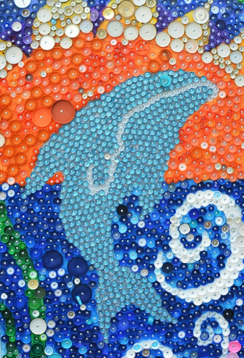 School Wide Bottle Cap Mural Project for kids
