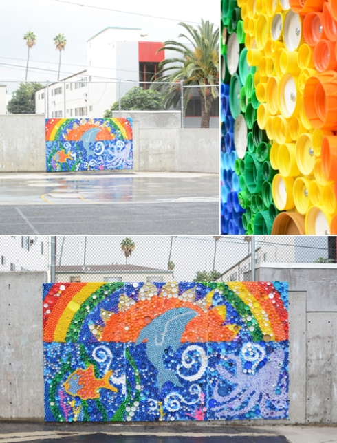 School Wide Bottle Cap Mural Project