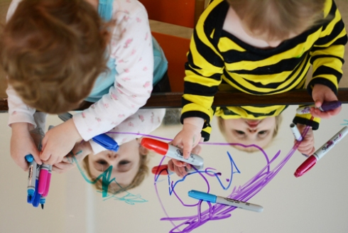 Mirror Art Activity for kids with sharpies