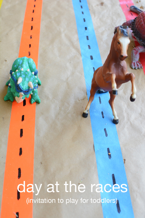 Day at the Races - Duct tape and friends for a great Toddler Activity