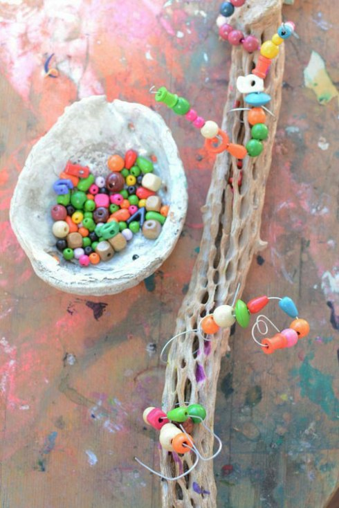 nature and beads - cactus wood, wire and beads