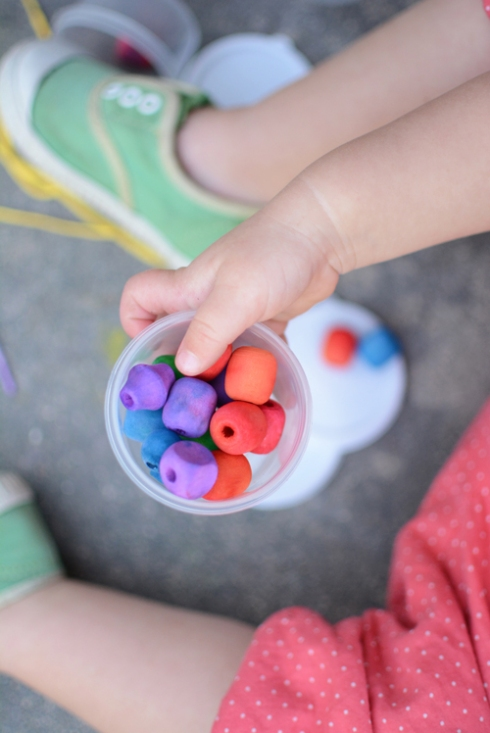 How to dye your own beads with watercolors and your toddler : )
