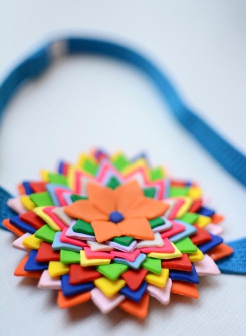 Flower headband made from sculpey