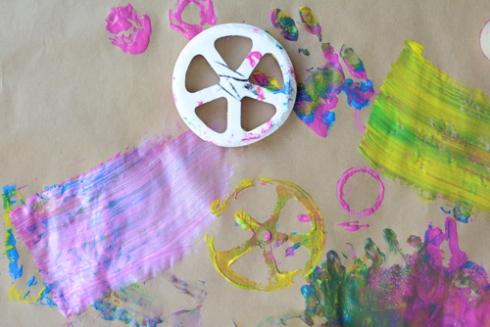 painting with recyclables - art activity for young children
